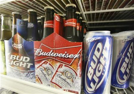 Bud Light and Budweiser beer is shown in a cooler at the Toluca Mart liquor store in Los Angeles, June 16, 2008. REUTERS/Fred Prouser