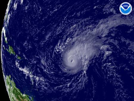 Hurricane Bertha is seen in a satellite image taken on July 7, 2008. REUTERS/NOAA/Handout