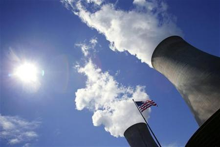 In this file photo a U.S. flag flutters in front of cooling towers at the Limerick Generating Station in Pottstown, Pennsylvania May 24, 2006. A leading U.S. Senate Democrat accused the Bush administration on Tuesday of a ''cover-up'' aimed at stopping the Environmental Protection Agency from tackling greenhouse emissions. REUTERS/Kevin Lamarque
