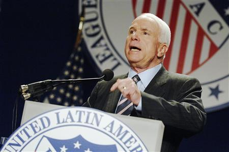 US Republican presidential candidate Senator John McCain (R-AZ) gestures as he addresses a League of United Latin American Citizens conference in Washington, July 8, 2008. REUTERS/Jonathan Ernst (