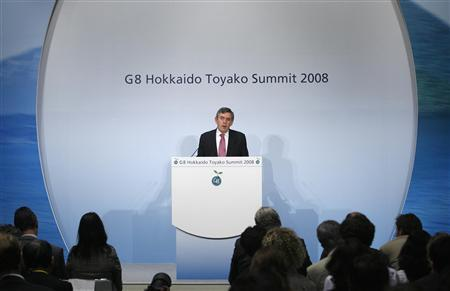 Prime Minister Gordon Brown speaks at a news conference at the international media centre of the Group of Eight (G8) Hokkaido Toyako Summit in Rusutsu town, on Japan's northern island of Hokkaido July 9, 2008. REUTERS/Vivek Prakash