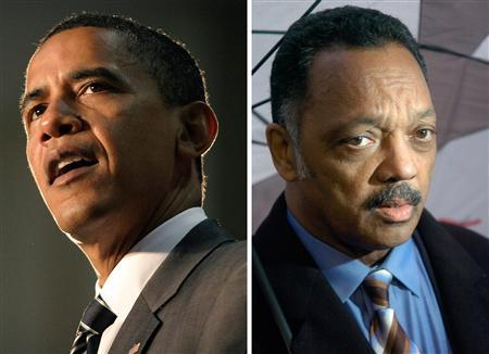 A combination image showing Democratic presidential candidate Barack Obama (L) and Rev. Jesse Jackson. REUTERS/Chip East (R)/Tami Chappell (L)