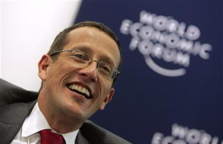 Richard Quest, then acting as anchor for CNN, attends a session at the World Economic Forum (WEF) in Davos in this file photo from January 24, 2007. Quest has returned to the cable news channel after a hiatus stemming from his drug arrest and court-ordered counseling, a spokesman for the Atlanta-based network said on Friday. REUTERS/Pascal Lauener