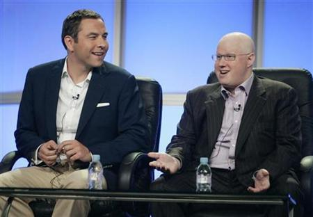 Matt Lucas (R) and David Walliams, writers, executive producers and stars of the new HBO comedy series ''Little Britain USA'', discuss the show during HBO's panel presentation at the Television Critics Association summer press tour in Beverly Hills, California July 10, 2008. REUTERS/Fred Prouser (UNITED STATES)