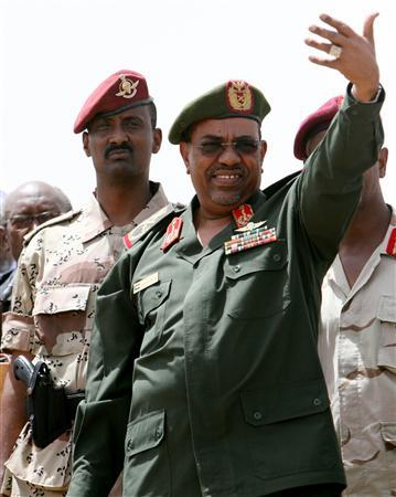 Sudan's President Omar Hassan al-Bashir addresses protesters outside the Sudanese military headquarters in Khartoum during a demonstration against attacks by Darfur's Justice and Equality Movement (JEM) rebels in the western Khartoum suburb of Omdurman in this May 14, 2008 file photo. The prosecutor of the International Criminal Court is likely to seek the arrest of al-Bashir in a new war crimes case he will open on Darfur on Monday, a senior European diplomat said on July 11, 2008. REUTERS/Mohamed Nureldin Abdalla/Files