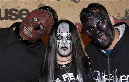 Members of the band Slipknot arrive for the taping of the Fuse/Fangoria Chainsaw Awards held at the Orpheum Theater in Los Angeles, California, October 15, 2006. REUTERS/ Phil McCarten