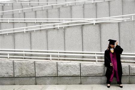 A graduate adjusts her cap after a graduation ceremony at Tsinghua University in Beijing, July 11, 2006. REUTERS/Jason Lee