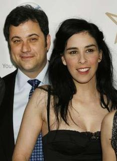 Talk show host Jimmy Kimmel (L) and his girlfriend, comedian Sarah Silverman arrive at the 19th Annual Gay & Lesbian Alliance Against Defamation (GLAAD) Media Awards in Hollywood, California, April 26, 2008. REUTERS/Fred Prouser