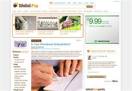 A screenshot of WalletPop.com, taken on July 15, 2008. REUTERS/www.walletpop.com