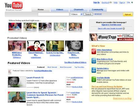 A screenshot of YouTube.com, taken on July 15, 2008. REUTERS/www.youtube.com