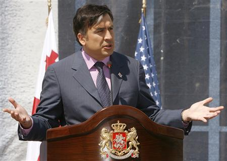 Georgia's President Mikheil Saakashvili speaks during a news conference in Tbilisi July 10, 2008. REUTERS/David Mdzinarishvili