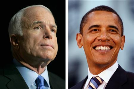 A combination photo shows presidential candidate Senator John McCain (L) during a speech in Las Vegas, Nevada, June 25, 2008 and presidential candidate Barack Obama (R) during a town hall-style meeting in Detroit June 2, 2008. REUTERS/Steve Marcus/Jason Reed
