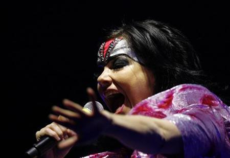 Icelandic singer Bjork performs during her concert the Volta Tour in Tokyo February 22, 2008. REUTERS/Kim Kyung-Hoon