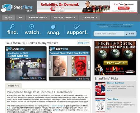 A screen grab of SnagFilms.com. REUTERS/www.snagfilms.com