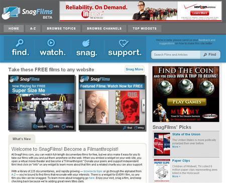 A screen grab of SnagFilms.com. REUTERS/www.snagfilms.com
