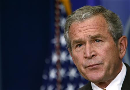 President George W. Bush holds a news conference in the briefing room of the White House in Washington July 15, 2008. REUTERS/Kevin Lamarque