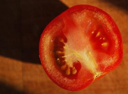 A tomato sliced in half is seen in Medford, Massachusetts July 17, 2008. U.S. regulators on Thursday lifted a warning on tomatoes and repeated a warning on peppers as the possible cause of an outbreak of Salmonella Saintpaul in which more than 1,200 people have reported getting sick. REUTERS/Brian Snyder