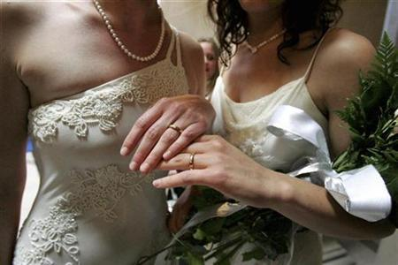 Sharon Papo (R) and her partner Amber Weiss display their wedding rings after exchanging wedding vows at City Hall on the first full day of legal same-sex marriages in San Francisco, California, June 17, 2008. REUTERS/Erin Siegal