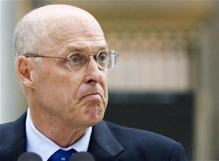 Secretary of the Treasury Henry Paulson during a statement to the media at the Treasury Building in Washington, July 13, 2008. REUTERS/Joshua Roberts