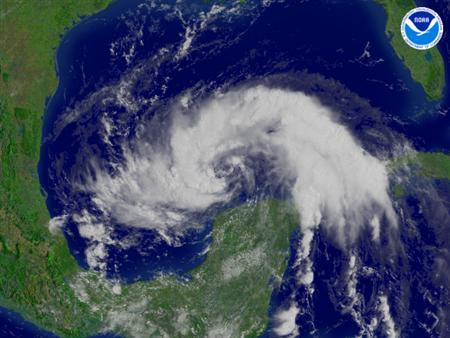 A satellite image of Tropical Storm Dolly, taken on July 21, 2008. REUTERS/NOAA/Handout