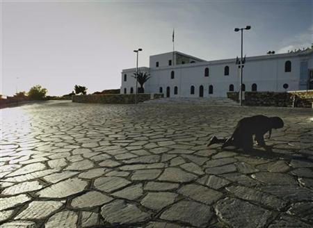 A pilgrim crawls towards the Church of Virgin Mary during Easter eve celebrations on the Island of Tinos, Greece some 90 Nautical miles west of Athens in this April 10, 2004 file photo. REUTERS/Yannis Behrakis