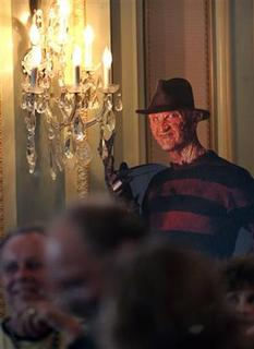 A cardboard cut-out of the movie character Freddy Krueger is seen in Pasadena, California July 10, 2006. REUTERS/Mario Anzuoni