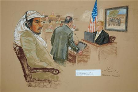 A sketch by a courtroom artist shows Osama bin Laden's driver Salim Hamdan (L) at the Guantanamo Bay U.S. Naval Base July 24, 2008, as FBI agent Craig Donnachie (R) testifies about his interrogations of Hamdan regarding a picture of disguised U.S. agents. REUTERS/Courtroom Drawing by Janet Hamlin