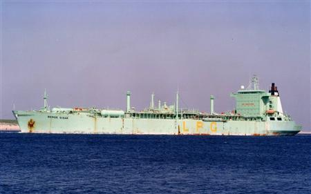 A file photo taken in April 2008 shows Berge Sisar, a liquefied petroleum gas (LPG) tanker from which gunmen kidnapped eight foreign oil workers off Nigeria's Niger Delta early on July 26, 2008. REUTERS/Handout