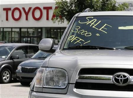 An unsold new Toyota Sequoia SUV is seen at a dealership in Silver Spring, Maryland, July 1, 2008. REUTERS/Yuri Gripas