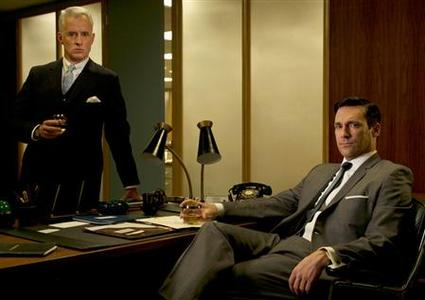 John Slattery and Jon Hamm in a promotional image for AMC's first original weekly drama series ''Mad Men''. REUTERS/AMC/Handout