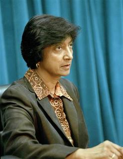 South African judge Navanethem Pillay speaks at the United Nations Headquarters in New York in this September 14, 1999 handout file photo. REUTERS/Eskinder Debebe/UN Photo/Handout