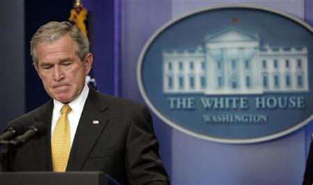 President Bush holds a news conference in the briefing room of the White House, July 15, 2008. REUTERS/Kevin Lamarque