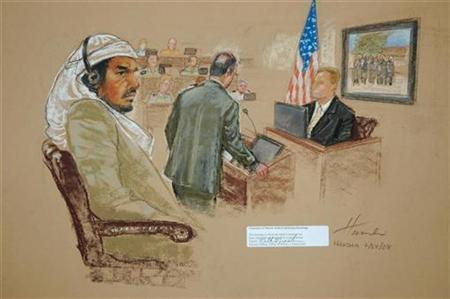 A courtroom sketch shows Osama bin Laden's driver Salim Hamdan (L) at the Guantanamo Bay U.S. Naval Base, July 24, 2008. REUTERS/Courtroom Drawing by Janet Hamlin