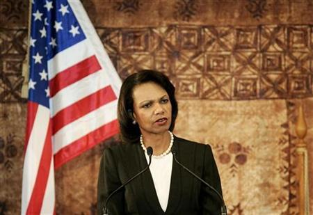 U.S. Secretary of State Condoleezza Rice speaks at a news conference at Government House in Auckland July 26, 2008. REUTERS/Nigel Marple