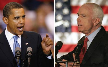 Democrat presidential candidate Barack Obama and Republican presidential candidate John McCain in a combination image. REUTERS/Combination/Files