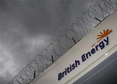 A sign is seen outside British Energy's Heysham nuclear power station, northern England, April 14, 2008. REUTERS/Darren Staples
