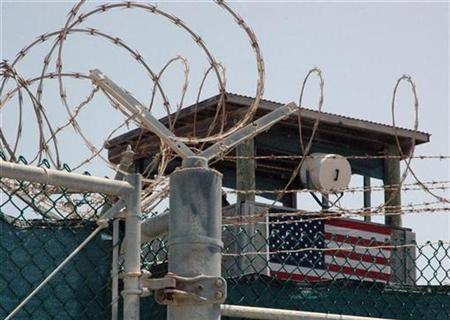 A guard tower is pictured at the Camp Delta detention centre for terrorism suspects at Guantanamo Bay, Cuba, July 23, 2008. REUTERS/Randall Mikkelsen
