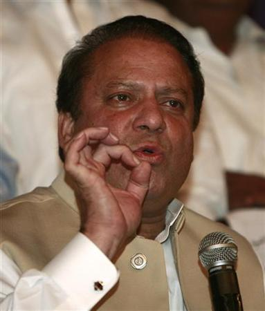 Nawaz Sharif, former prime minister of Pakistan, speaks during a news conference in Lahore August 4, 2008. REUTERS/Mohsin Raza