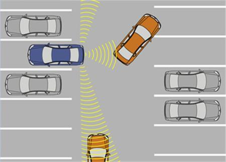An illustration demonstrating Nissan's All-Around Collision Free prototype safety technology, incorporating two all-new technologies – Side Collision Prevention (SCP) and Back-up Collision Prevention (BCP) in an image released August 5, 2008. REUTERS/Nissan/Handout