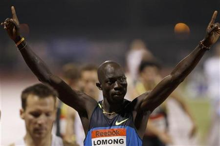 Lopez Lomong of the U.S. celebrates winning the men's 1500 meters race at the Reebok Grand Prix athletics meet in New York May 31, 2008. REUTERS/Gary Hershorn