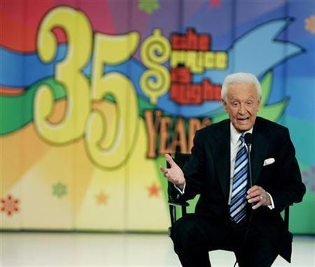 Host Bob Barker answers questions on stage at a news conference after the taping of his final episode of the game show ''The Price Is Right'' in Los Angeles June 6, 2007. REUTERS/Fred Prouser