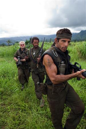 Jack Black, Robert Downey Jr. and Ben Stiller in a scene from ''Tropic Thunder''. REUTERS/DreamWorks Pictures