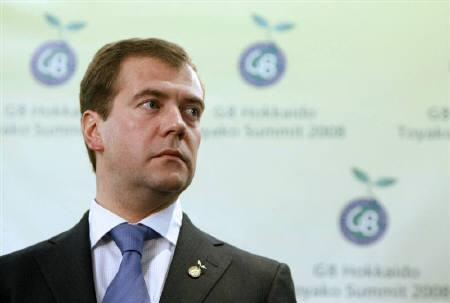 Russian President Dmitry Medvedev attends a news conference at the Group of Eight (G8) Hokkaido Toyako Summit in northern Japan in this July 8, 2008 file photo. REUTERS/RIA Novosti/Dmitry Astakhov/Files