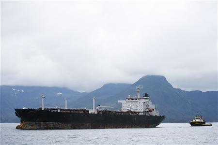 An oil tanker nears the Trans-Alaska Pipeline Marine Terminal in Valdez, Alaska, August, 9 2008. REUTERS/Lucas Jackson