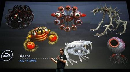 Will Wright of Maxis Studio speaks during the presentation for the game ''Spore'' at the Electronic Arts news conference at the 2008 E3 Media & Business Summit in Los Angeles July 14, 2008. REUTERS/Mario Anzuoni