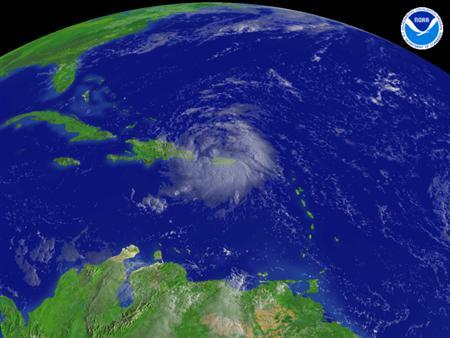 A satellite image showing weather patterns over the Caribbean, taken on August 15, 2008. REUTERS/NOAA/Handout
