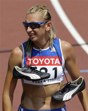 Fani Halkia of Greece is seen after the women's 400 metres hurdles heats at the 11th IAAF World Athletics Championship in Osaka August 27, 2007. REUTERS/David Gray