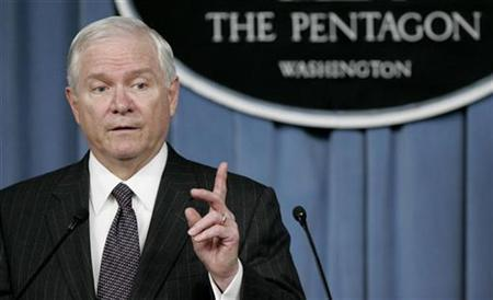 U.S. Secretary of Defense Robert Gates speaks during a press briefing at the Pentagon in Washington, July 9, 2008. REUTERS/Molly Riley