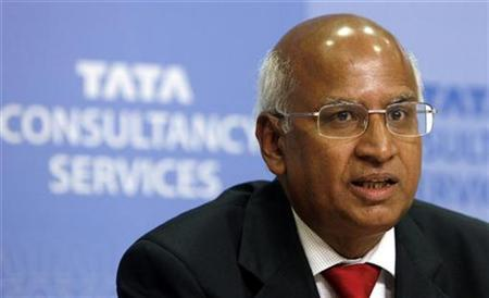 S. Ramadorai, chief executive officer of Tata Consultancy Services (TCS), speaks during a news conference to announce quarterly financial results in Mumbai July 16, 2008. REUTERS/Punit Paranjpe