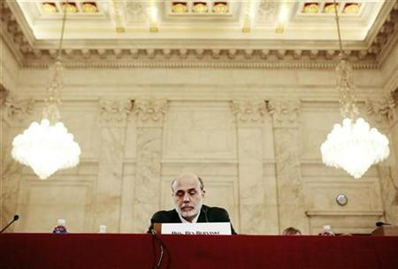 Chairman of the Federal Reserve Ben Bernanke reports his Monetary Policy Report before the U.S. Senate Banking Committee on Capitol Hill in Washington, July 15, 2008. REUTERS/Larry Downing